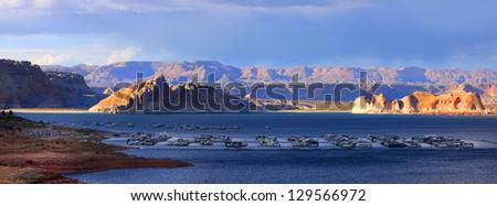 Panoramic view of Lake Powell recreation - stock photo