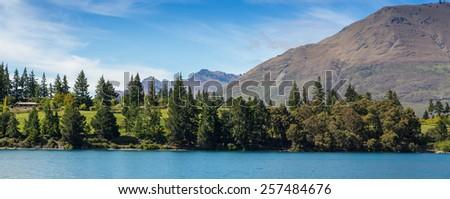 Panoramic view of Lake Wakatipu at Frankton Arm, Queenstown, NEW ZEALAND - stock photo