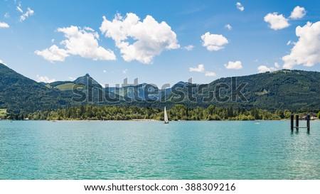 Panoramic view of  lake Wolfgangsee in summer, St. Wolfgang near Salzburg Austria - stock photo