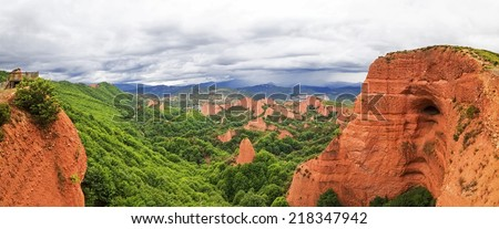 Panoramic view of Las Medulas, Roman gold mines, UNESCO, Leon, Spain - stock photo