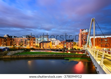 Panoramic view of Leeds city from Clarence Dock. - stock photo