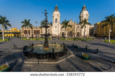 Panoramic view of Lima main square and cathedral church. - stock photo