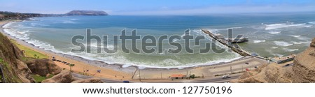 panoramic view of Lima seashore from Miraflores, Peru - stock photo