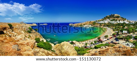 panoramic view of Lindos bay, Rhodes island, Greece - stock photo
