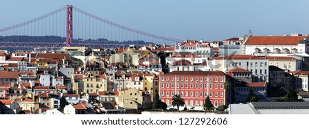 Panoramic view of Lisbon, Portugal - stock photo