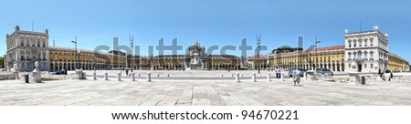 "panoramic view of Lisbon, Portugal Lisbon historical centre viewed from the Tagus ""Tejo"" River - stock photo"