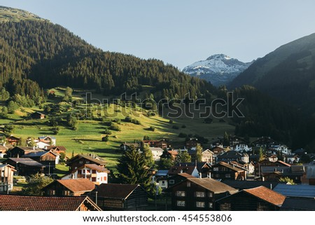 Panoramic view of little town Breil/Brigels in Switzerland - stock photo
