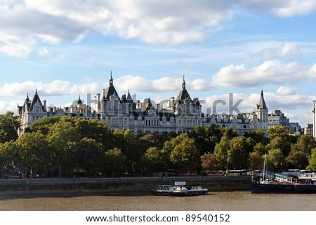 Panoramic view of London and River Thames from the London Eye - stock photo