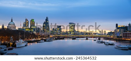 Panoramic view of London skyline over river Thames. - stock photo