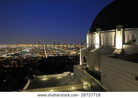 Panoramic view of Los Angeles city lights - stock photo