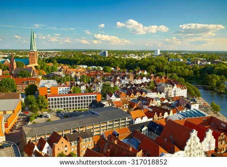 Panoramic view of Lubeck,  Germany - stock photo