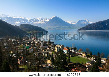 Panoramic view of Lucerne lake and Pennine Alps from mount Rigi - stock photo