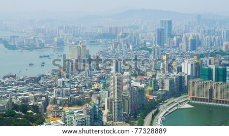 Panoramic view of Macau, China, which is one of the World's famous gambling destinations. - stock photo