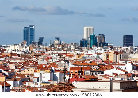 Panoramic view of madrid city and skyscrapers in Business District.