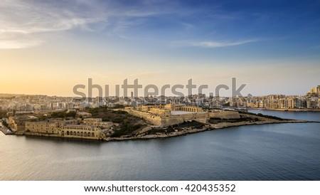 Panoramic view of Malta from Valletta at sunset - Malta - stock photo