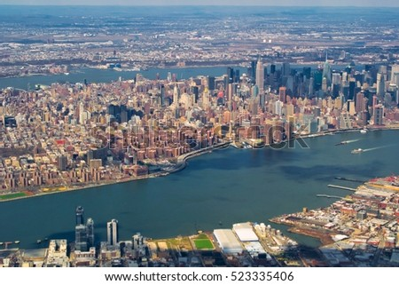 Panoramic view of Manhattan from the airplane window, NYC, USA