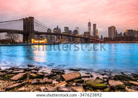 Panoramic view of Manhattan, New York City. USA. - stock photo
