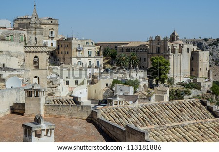 Panoramic view of Matera, Basilicata, Italy Town in the rock