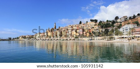 Panoramic View of Menton on the french Riviera in the South of France