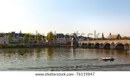panoramic view of Meuse river, old town of Maastricht and Saint Servatius bridge