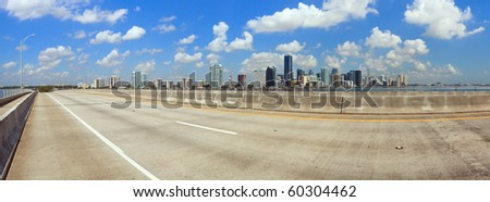 Panoramic view of Miami and Biscayne Bay from the Key Biscayne bridge. - stock photo