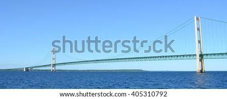 Panoramic View of Michigan's Mackinac Bridge  - stock photo
