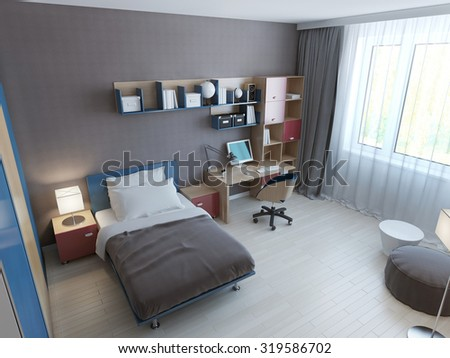 Panoramic view of minimalist children bedroom. 3D render