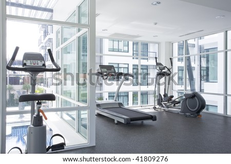 Panoramic view of modern style gym interior