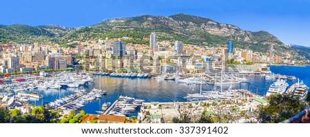Panoramic view of Monaco - stock photo