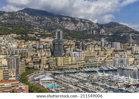 Panoramic view of Monaco - a lot of color buildings on a very small area. Principality of Monaco, French Riviera, Western Europe