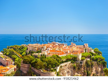 Panoramic view of Monaco with Prince's Palace and Oceanographic Museum. Cote d'Azur, french riviera
