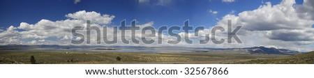 Panoramic view of Mono Lake in Eastern California - stock photo
