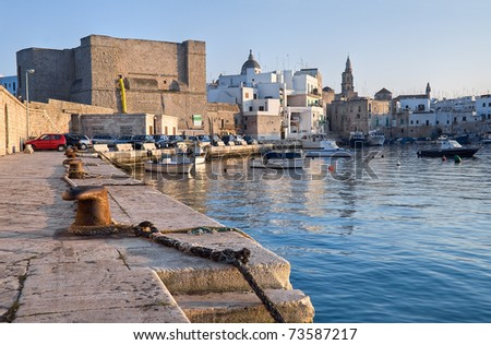 Panoramic view of Monopoli seaport. Apulia. - stock photo