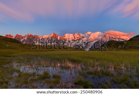 Panoramic View of Mont Blanc Massif at Sunset, Graian Alps, France - stock photo