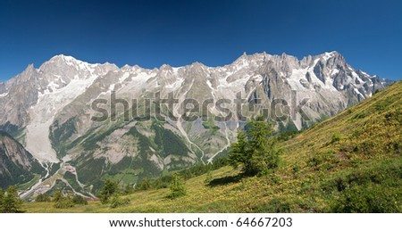 panoramic view of Mont Blanc massif from Grandes Jorasses to mont Blanc, Courmayeur, Italy - stock photo