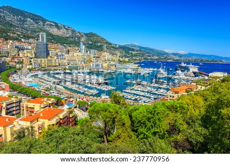 Panoramic view of Monte Carlo and famous harbour,Monaco,Azur Coast,Europe - stock photo