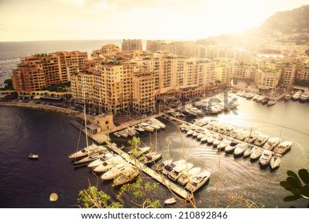 Panoramic view of Monte Carlo harbour in Monaco. Azur coast. - stock photo