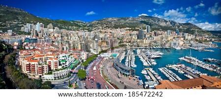 Panoramic view of Monte Carlo in Monaco. Azur coast. - stock photo