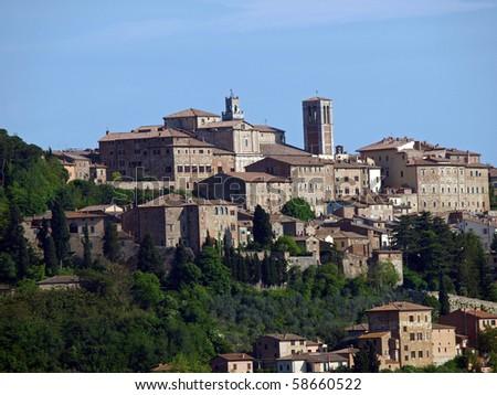 Panoramic View Of Montepulciano ,Tuscany, Italy. - stock photo