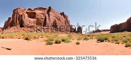 Panoramic view of Monument Valley - stock photo