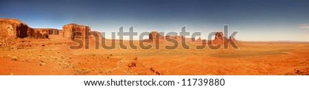 Panoramic View of Monument Valley, Navajo Nation, Arizona USA - stock photo