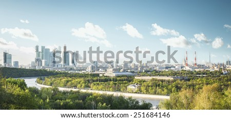 Panoramic view of Moscow city from Sparrow Hills, Russia - stock photo