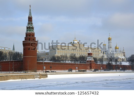 Panoramic view of Moscow Kremlin at sunset time, Russia - stock photo