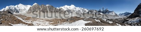 Panoramic view of mount Cho Oyu, one of the highest mountain in the world - Sagarmatha national park, Khumbu valley, cho oyu base camp - Nepal - stock photo