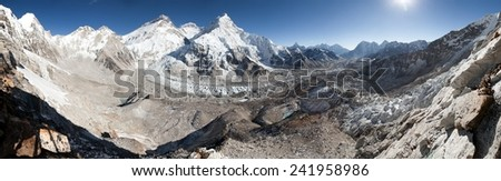 Panoramic view of Mount Everest, Lhotse and Nuptse from Pumo Ri base camp - way to Mount Everest base camp - Nepal - stock photo