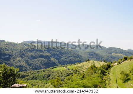 Panoramic view of mountain landscape of Italian Alps - stock photo