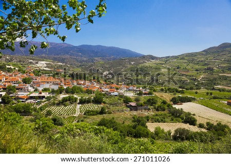 panoramic view of mountain village Omodos, Cyprus - stock photo