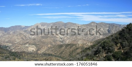 Panoramic view of mountains across a canyon, California - stock photo