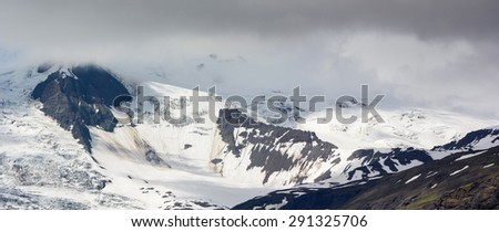 Panoramic view of mountains covered with snow and glacier among them, near Jokulsarlon in South Iceland