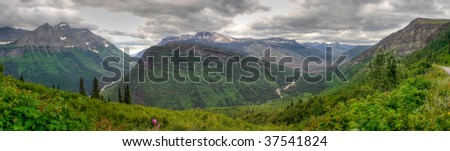 Panoramic view of mountains in Glacier National Park, Montana - stock photo